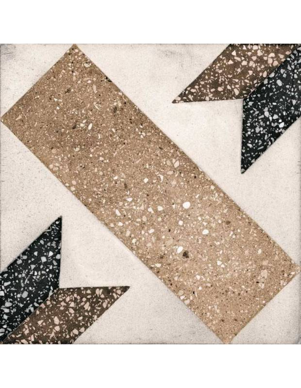 Carrelage grès cérame 25 x 25 cm style terrazzo ancien à motifs beiges et noirs - PA1715007