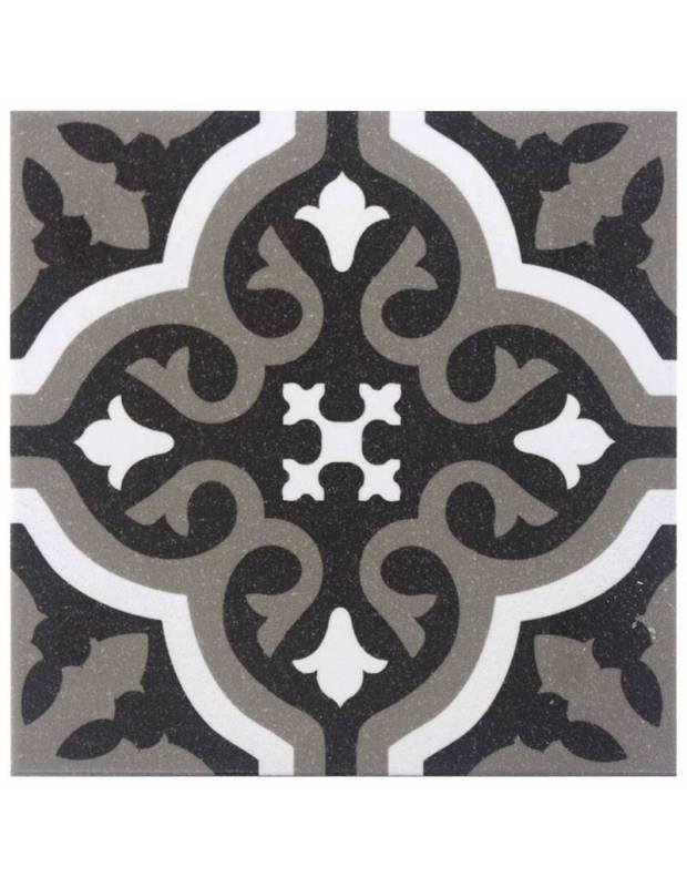 Carrelage imitation carreau ciment sol et mur noir 20 x 20 cm - FL0115001