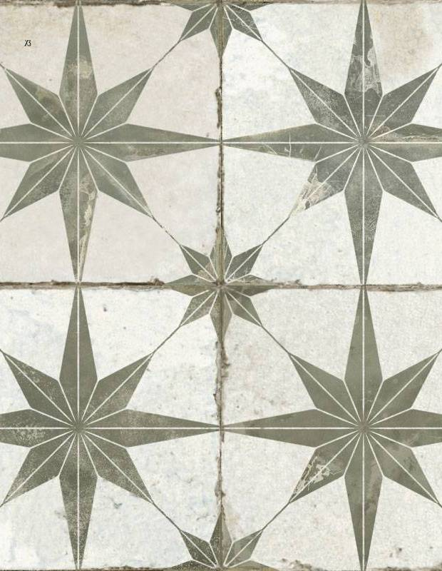 Carrelage sol style ancien - 45x45cm - à motif khaki - FS1132002