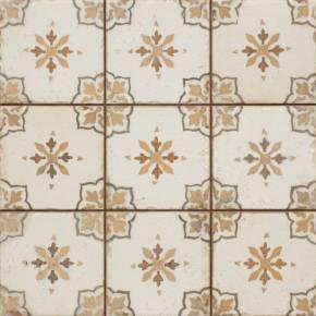 Carrelage retro pour sol 33x33cm - décor brun -orangé - FS1136002