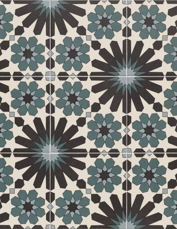 Azulejos style zellige à motifs géométriques 20x20 cm - ZE0114001