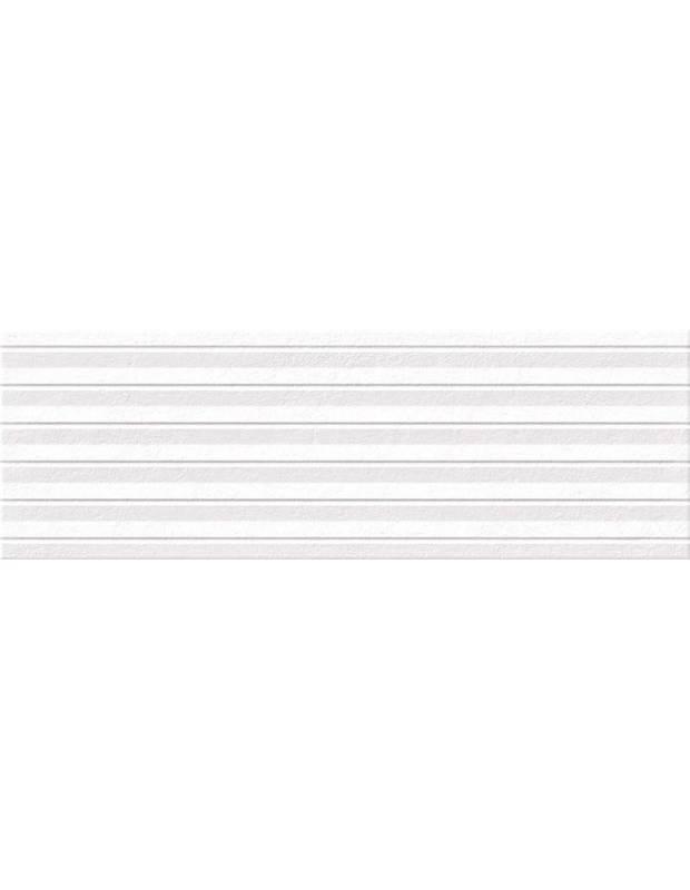 Carrelage mural blanc - relief design aspect pierre 25x75cm - OM0214001