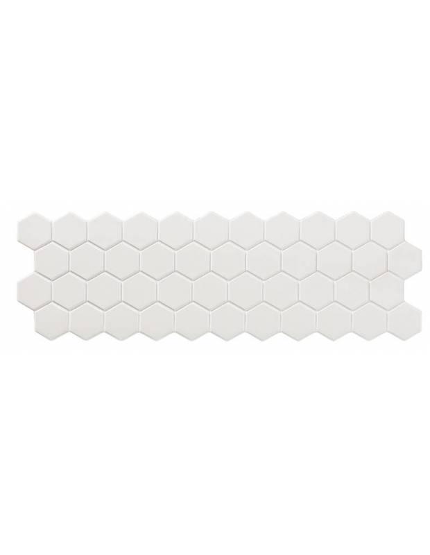 "Carrelage mosaïque en ""maille"" d'hexagones - blanc mate - TA9506001"