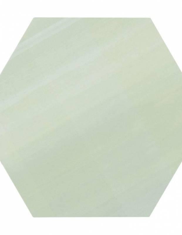 Carrelage uni hexagonal vert en grès cérame de 15 mm d'épaisseur