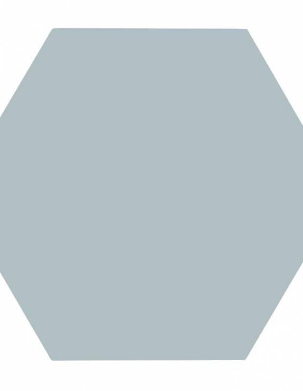 Carrelage uni hexagonal vert eau en grès cérame de 10 mm d'épaisseur