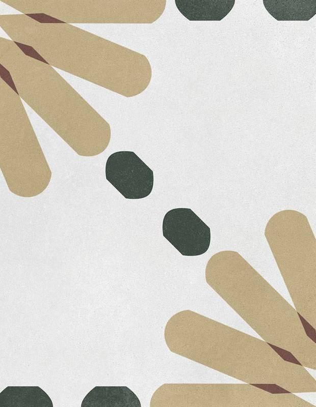 Carrelage imitation carreau de ciment décor jaune et vert - AR1144002