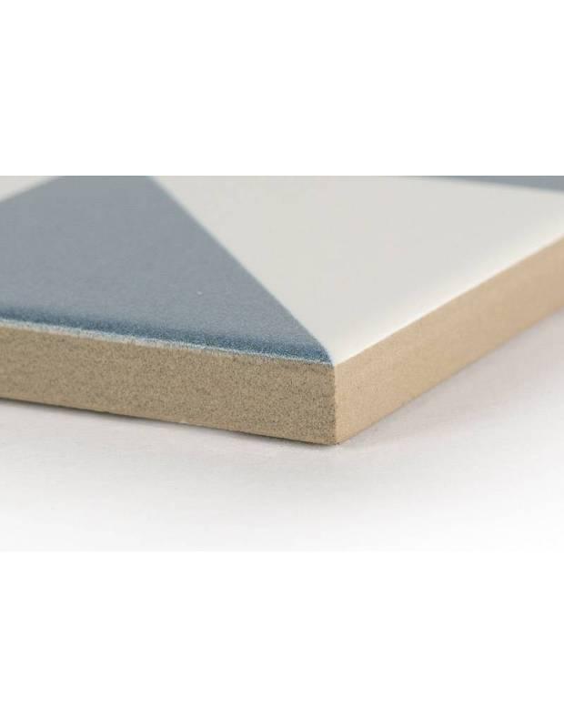 Carrelage grès cérame 25 x 25 cm ancien à motifs géométriques bleus et blancs - DO1713003