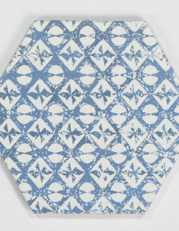 Carrelage hexagonal mat bleu 15 x 15 cm - HE0811010